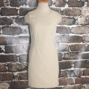 Theory sleeveless khaki sheath dress pockets 00